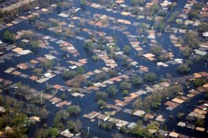 Flooding caused by Hurricane Katrina in the New Orleans area is visible from Air Force One Wednesday, Aug. 31, 2005