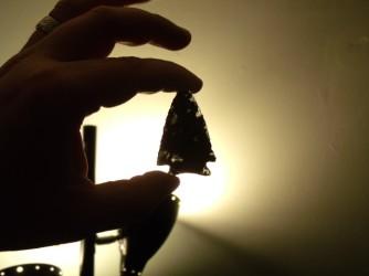 Mahogany Obsidian point backlit